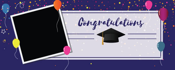 Congratulations Graduation Purple With Balloons Design Small Personalised Banner - 4ft x 2ft