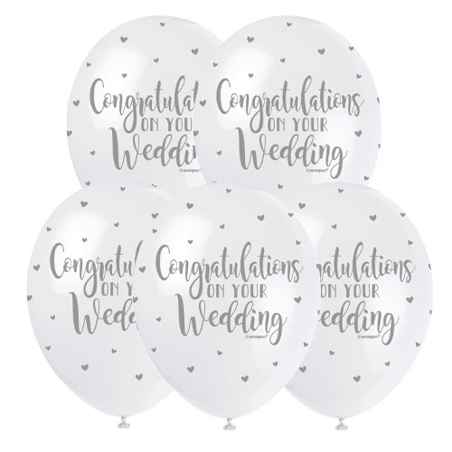 Congratulations on your Wedding Biodegradable Latex Balloons 30cm / 12 in - Pack of 5 Product Image