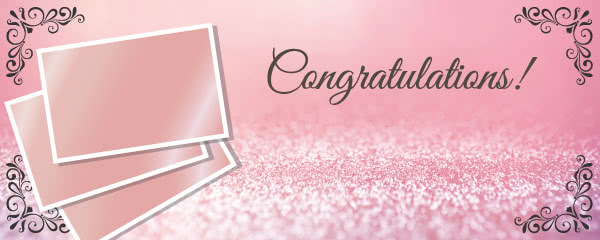 Congratulations Rose Gold Design Small Personalised Banner - 4ft x 2ft