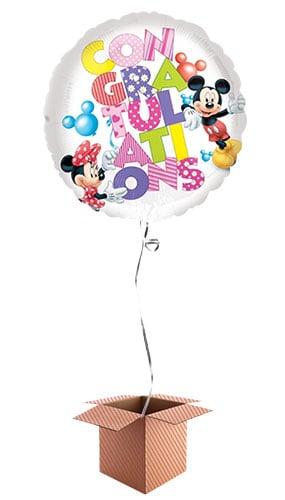 Congratulations Round Foil Balloon with Mickey and Minnie Design - Inflated Balloon in a Box Product Image