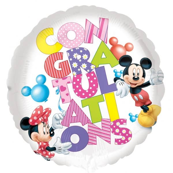 Congratulations Round Foil Helium Balloon with Mickey and Minnie Design 43cm / 17Inch Product Image