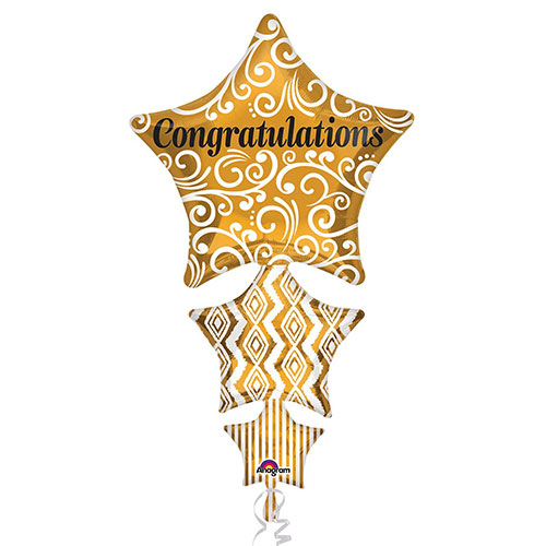 Congratulations Stacked Stars Helium Foil Giant Balloon 107cm / 42  in Product Image