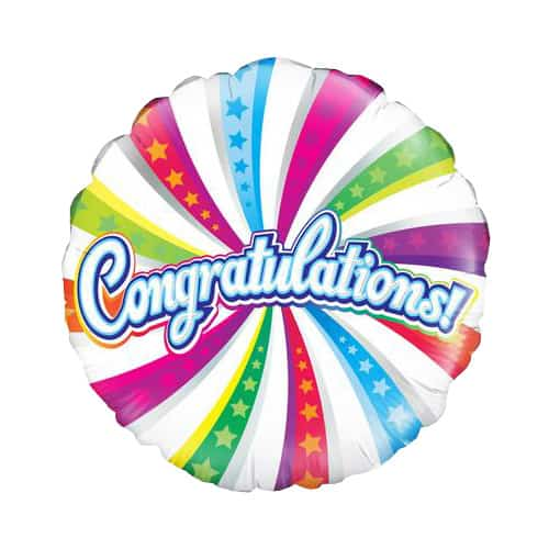 Congratulations Swirl Round Foil Helium Balloon 46cm / 18Inch Product Image