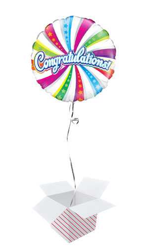 Congratulations Swirl Round Foil Helium Balloon - Inflated Balloon in a Box