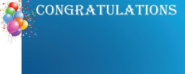 Congratulations Blue Celebration Design Medium Personalised Banner - 6ft x 2.25ft