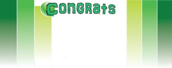 Congratulations Green Blocks Design Medium Personalised Banner - 6ft x 2.25ft