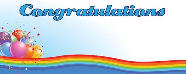 Congratulations Colour Wave Design Medium Personalised Banner - 6ft x 2.25ft