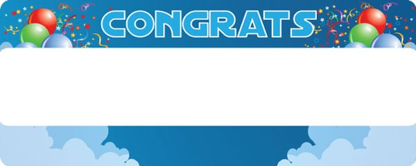 Congratulations Clouds and Balloons Design Large Personalised Banner - 10ft x 4ft