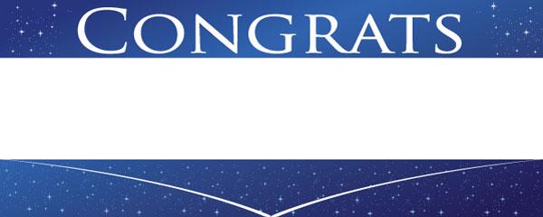 Congratulations Blue Sky & Stars Design Medium Personalised Banner - 6ft x 2.25ft