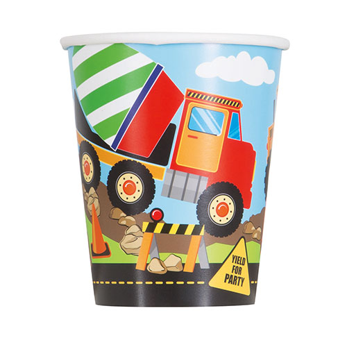 Construction Party Paper Cups 270ml - Pack of 8