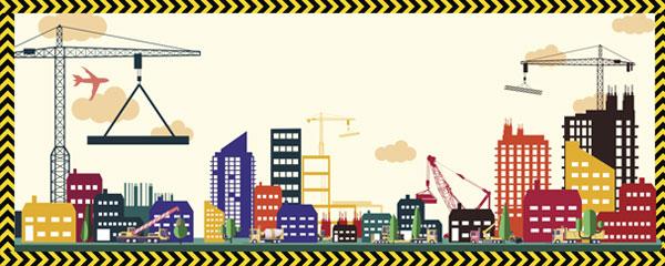 Construction Site Skyline Design Medium Personalised Banner – 6ft x 2.25ft