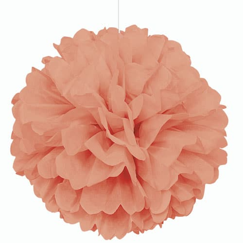 Coral Honeycomb Hanging Decoration Puff Ball 40cm Product Image
