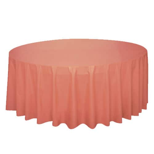 Coral Round Plastic Tablecover 213cm