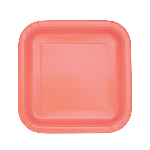 Coral Square Paper Plates 17cm - Pack of 16 Product Image