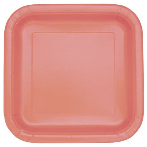 Coral Square Paper Plates 22cm - Pack of 14