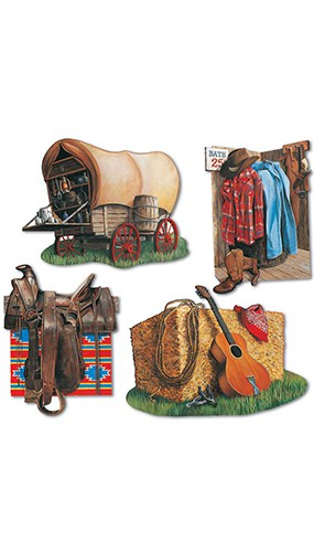 Cowboy Decorative Cutouts - 16 Inches / 41cm - Pack of 4