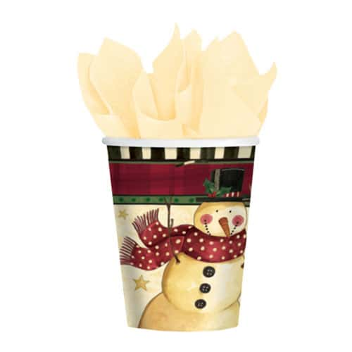 Christmas Cozy Snowman Paper Cups 260ml - Pack of 8