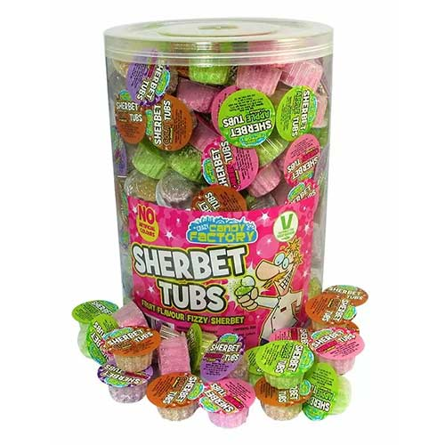 Crazy Candy Factory Sherbet Tubs Vegetarian Sweets - Pack of 200