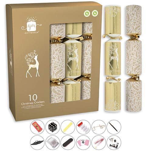 Cream & Gold Christmas Crackers 34cm / 13 in - Pack of 10 Product Image