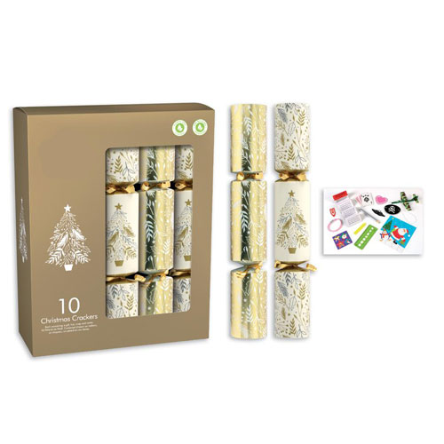 Cream & Gold Christmas Crackers 30cm / 12 in - Pack of 10 Product Image