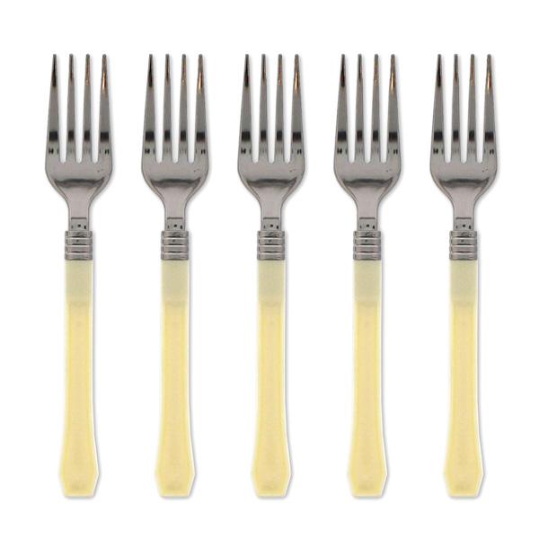 Cream and Silver Premium Range Plastic Forks - Pack of 12
