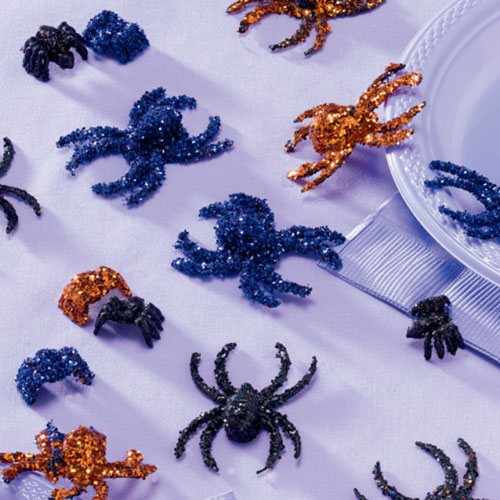 Creepy Critters Glitter Spiders Halloween Table Decorations - Pack of 20