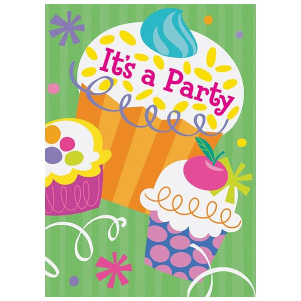 Cupcake Party Invitation Cards with Envelopes - Pack of 8
