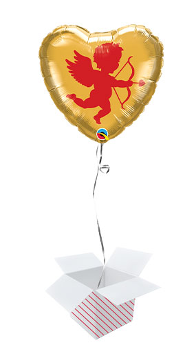 Cupid Valentine's Day Foil Helium Qualatex Balloon - Inflated Balloon in a Box