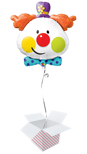 Cute Clown Helium Foil Giant Qualatex Balloon - Inflated Balloon in a Box Product Image