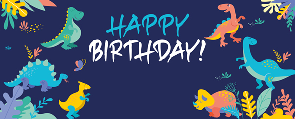 Cute Dinosaur Happy Birthday Blue Design Small Personalised Banner - 4ft x 2ft