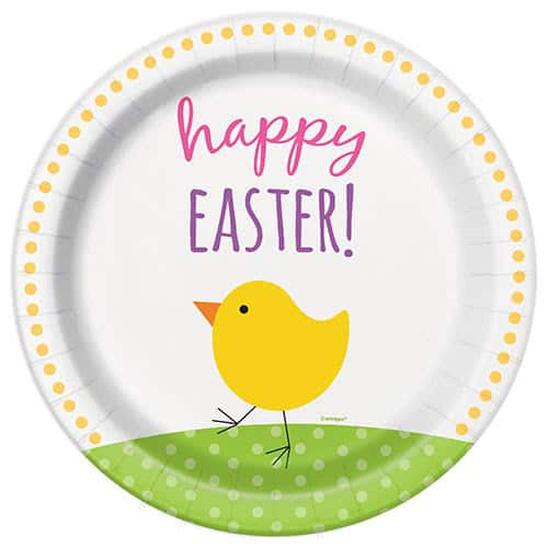 Cute Easter Round Paper Plates 22cm - Pack of 8