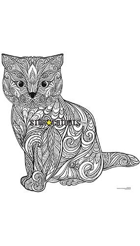 Cute Kitten Design Colour Craft Star Mini Cardboard Cutout 90cm Product Image
