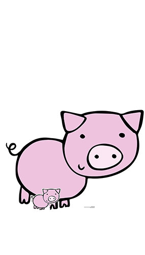 Cute Pig Farmyard Animal Lifesize Cardboard Cutout 89cm