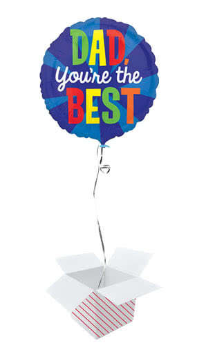 Dad You're The Best Round Foil Helium Balloon - Inflated Balloon In a Box Product Image
