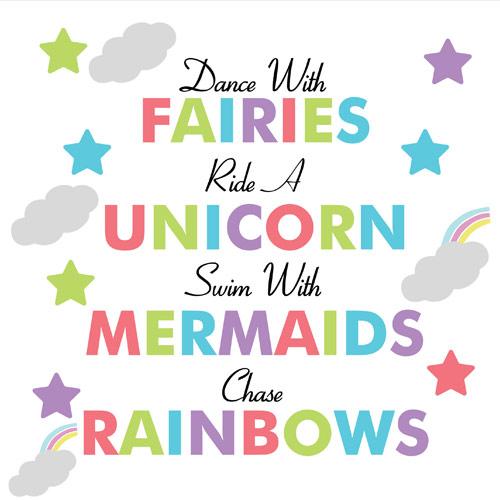 Fairies Unicorn Mermaids And Rainbows PVC Party Sign Decoration 20cm x 20cm Product Image