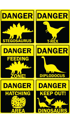 Danger Dinosaurs PVC Party Sign Decorations 20cm x 20cm - Pack of 6 Product Image