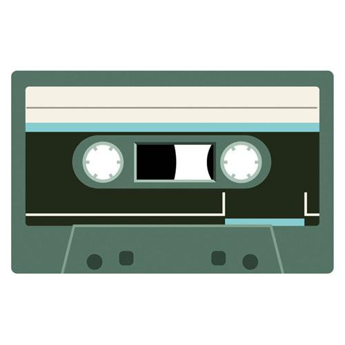 Dark Green Cassette Tape PVC Party Sign Decoration 37cm x 23cm Product Image