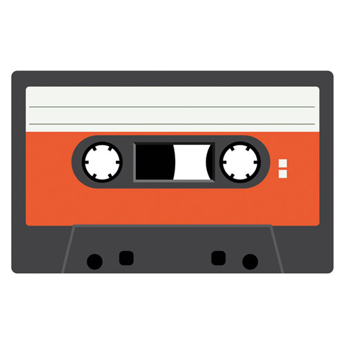 Dark Orange Cassette Tape PVC Party Sign Decoration 37cm x 23cm Product Image