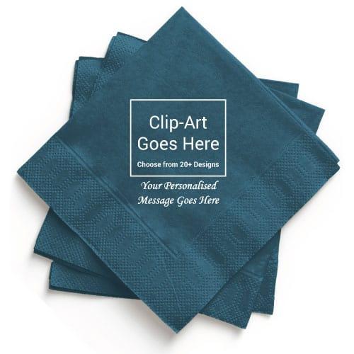 Dark-Turquoise Personalised Napkin - Pack of 100