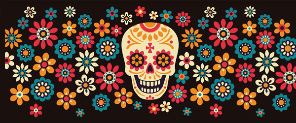 Day of the Dead Colourful Flowers Halloween PVC Party Sign Decoration 60cm x 25cm Product Image