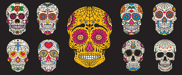 Day of the Dead Colourful Skulls Halloween PVC Party Sign Decoration 60cm x 25cm Product Image