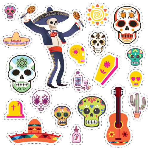 Halloween Day Of The Dead Skeleton With Maracas Cutting Sheet PVC Party Sign Decoration 133cm x 133cm Product Image