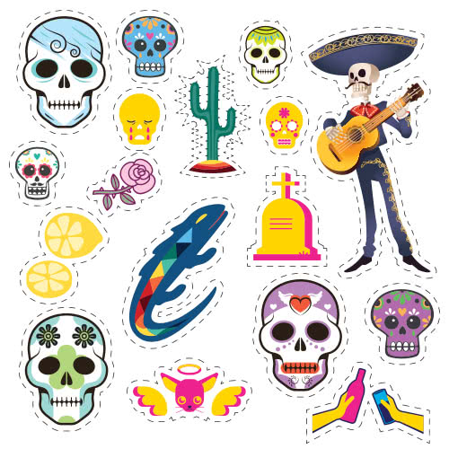 Halloween Day Of The Dead Skeleton With Guitar Cutting Sheet PVC Party Sign Decoration 133cm x 133cm Product Image