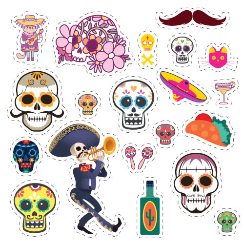 Halloween Day Of The Dead Skeleton With Trumpet Cutting Sheet PVC Party Sign Decoration 133cm x 133cm Product Image