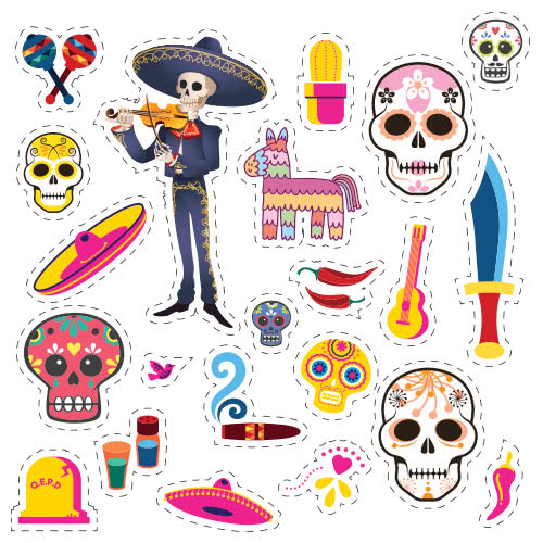 Halloween Day Of The Dead Skeleton With Violin Cutting Sheet PVC Party Sign Decoration 133cm x 133cm Product Image