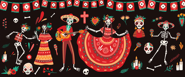 Day of the Dead Fiesta Halloween PVC Party Sign Decoration 60cm x 25cm Product Image
