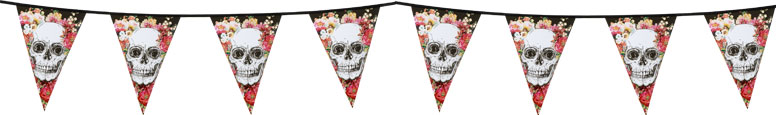 Day Of The Dead Flowers Halloween Plastic Pennant Bunting 6m