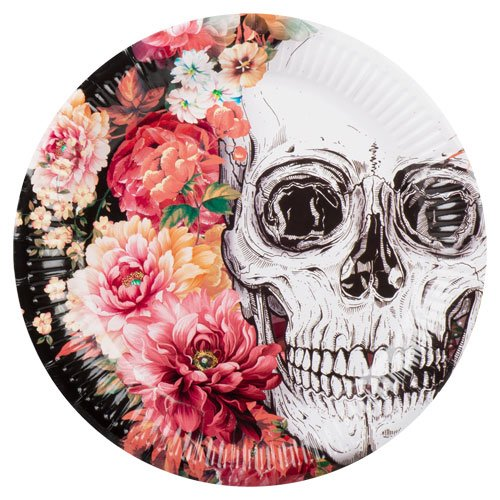 Day Of The Dead Flowers Halloween Round Paper Plates 23cm - Pack of 6 Bundle Product Image