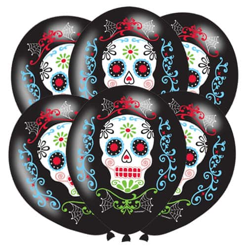 Day Of The Dead Halloween Latex Balloons 28cm / 11 in - Pack of 6 Product Image