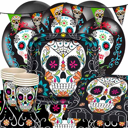 Day Of The Dead Skull 16 Person Deluxe Party Pack